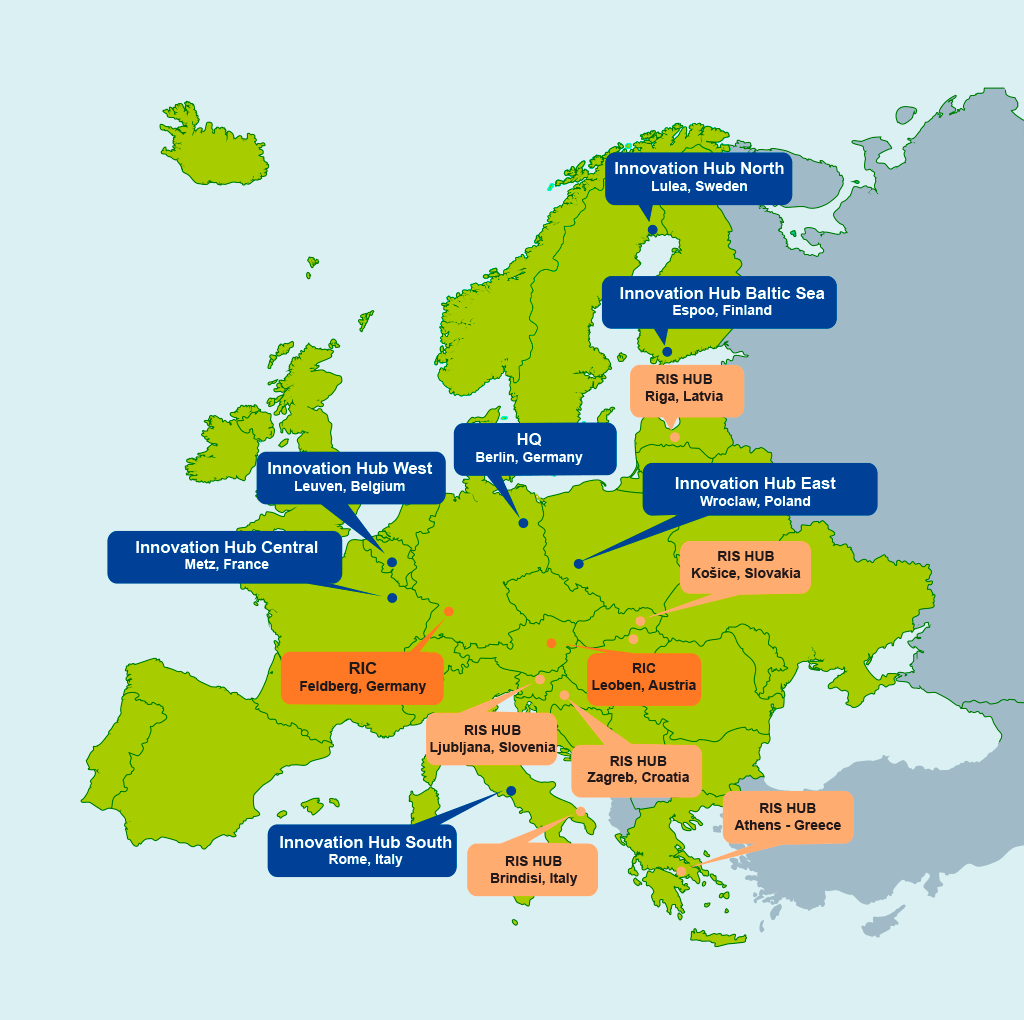 EITRM Map HUBs in Europe